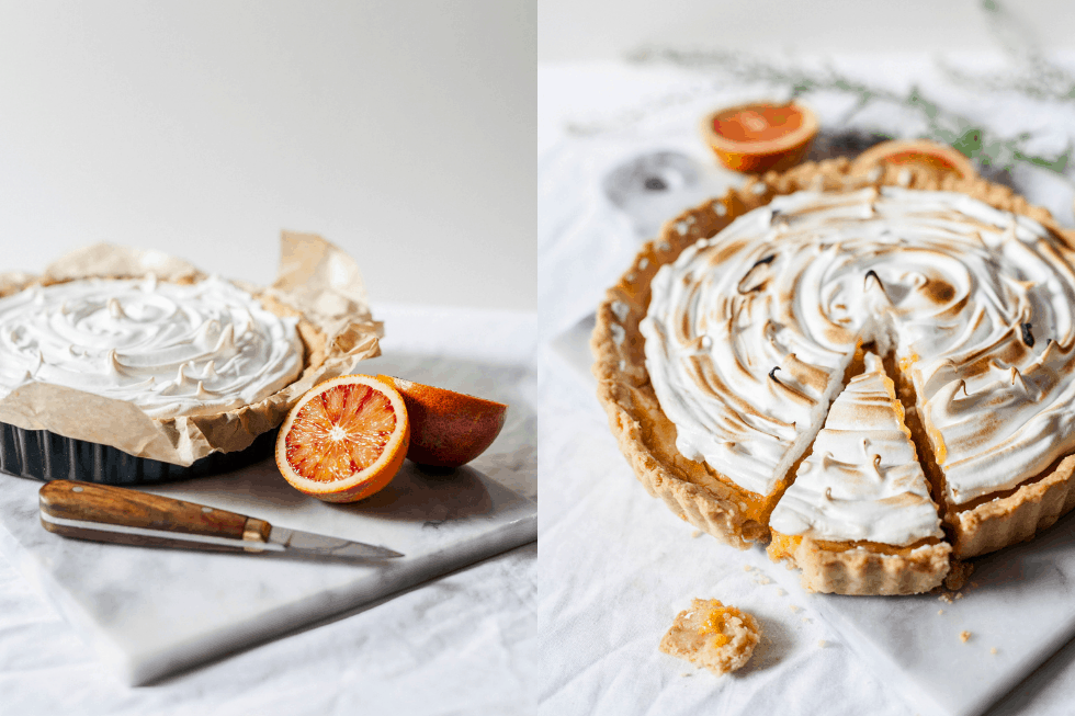 lemon meringue pie before and after toasting with blood orange on the board